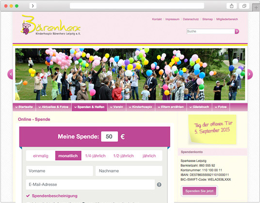 Screenshot kinderhospiz baerenherz