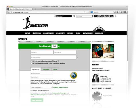 betterplace.org bietet Dir ein integriertes Spendenformular für Deine eigene Website an.