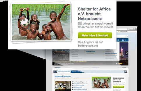 Zeitspenden-Banner eingebunden in die eigene Website