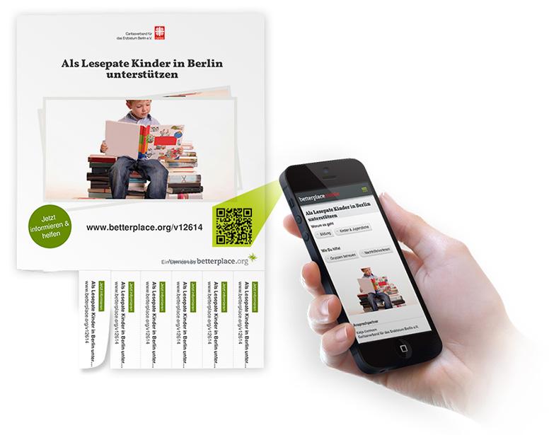 Ein Poster einer Zeitspenden-Suche mit QR-Code